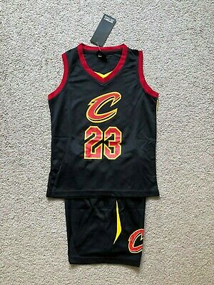 Lebron James #23 Cleverland  Cavaliers Kids Jersey Shorts Set Black US Seller!