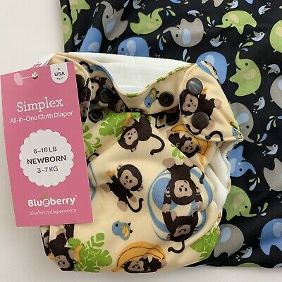 Blueberry Simplex Newborn 6-16 lbs All In One Diaper Monkey and Wet bag Elephant