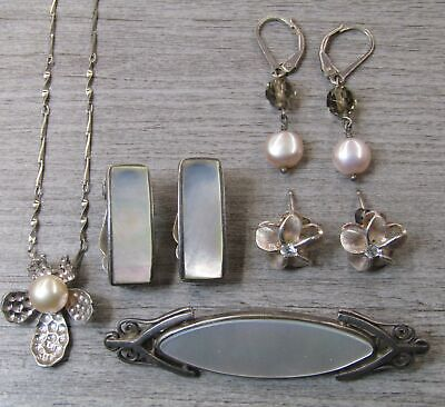Sterling Silver Jewelry Lot Pink Flower Necklace Mother of Pearl Earrings Pin