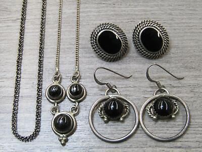 Sterling Silver Jewelry Lot Black Stone Cabochon Necklace Dangle Earrings