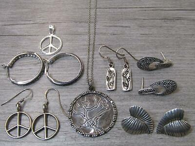 Sterling Silver Jewelry Lot Serenity Bird Necklace Leaves Marcasite Earrings