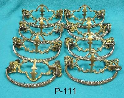 "P-111 Antique Furniture Drawer Pulls, 8 Original Pressed brass,3"" Center Mount"