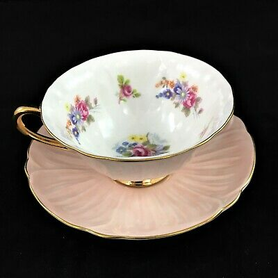 Shelley Footed Oleander Pale Pink Floral Cup & Saucer Gold trim Fine Bone China