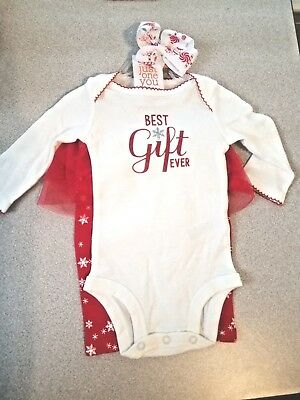 Baby Girls 3 Month Just One You 3 Piece Holiday Outfit Set & Hair Bow! Nwt!