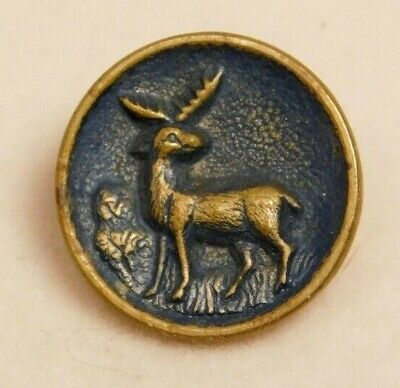 Antique BUTTON Small Tinted Brass DEER w Antlers NICE! #A20