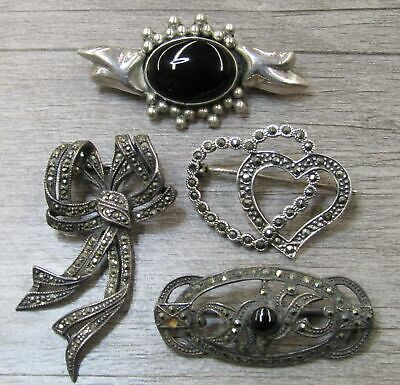 Sterling Silver Jewelry Pin Brooch Lot Marcasite Ribbons Black Stone Hearts
