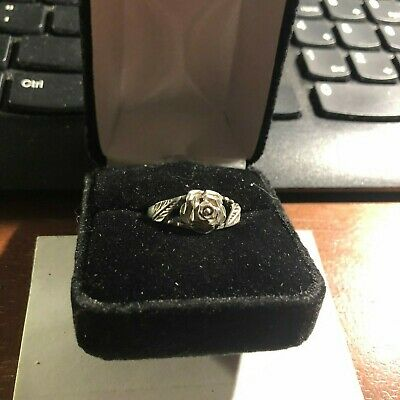 Beautiful Ladies Rose Sterling Ring with Leaves size 9