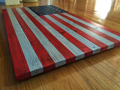 Large Wooden American Flag **Hand Carved Stars**