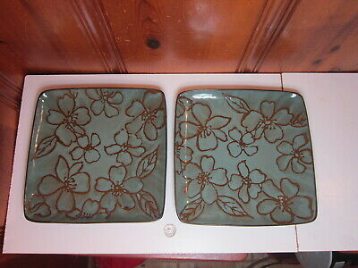 """Set of 2 Roscher Dahlia Collection Magnolia Flower Square 10 3/4"""" Dinner Plates"""
