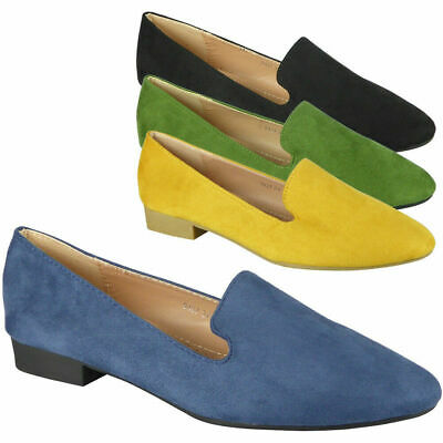 Ladies Flats Loafers Womens Slip On Faux Suede Office School Work Shoes Size