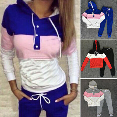 Women's Casual Hooded Slim Tops+pants Sports Fitness Workout Gym Tracksuit Set
