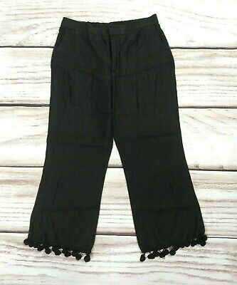 Zara Woman Black Linen Cropped Pom Pom Trousers Casual Loose Relaxed Size Medium