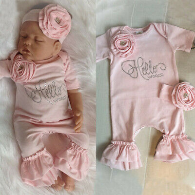 US Newborn Baby Girl Flower Romper Ruffle Jumpsuit + Headband Outfit Clothes Set