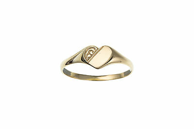9ct Yellow Gold Half Engraved Heart Signet Ring 375 Made in UK Ladies Children's