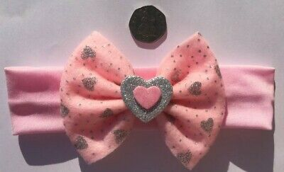 Pink & Silver Valentine Hair Bow Love Heart Headband Baby Girl Child