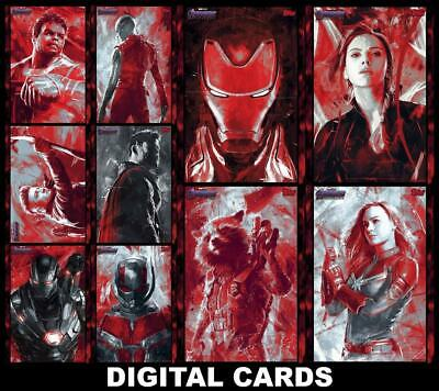 Topps Marvel Collect AVENGERS ENDGAME RED ART [10 CARD SET] Iron Man/Widow+++