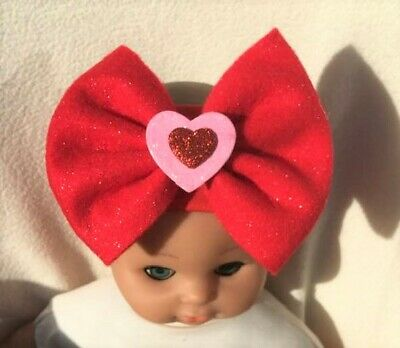 Red Valentine Hair Bow Love Heart Headband Baby Girl Child