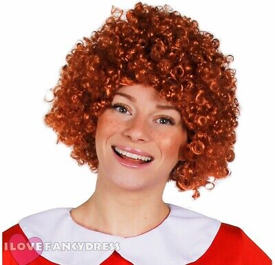 ADULT GINGER CURLY AFRO WIG 70s MUSICAL ORPHAN GIRL FANCY DRESS ANNIE ACCESSORY