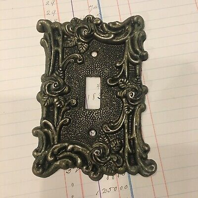 Vintage Light Switch Cover Plate Brass American Roses Victorian Revival 60s Boho