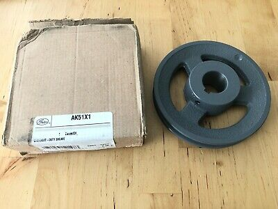"""Gates AK51X1 Finished Bore Heavy Duty Sheave Pulley 1"""" Bore 1 Groove"""
