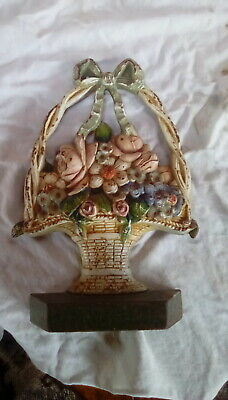 Early 20th C Antique Cast Iron Basket Flowers Door Stop ~ Original Paint