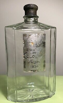 "Vintage Rare ""Salon"" Eau De Cologne 1934 Big Crystal Glass Barbershop Bottle"