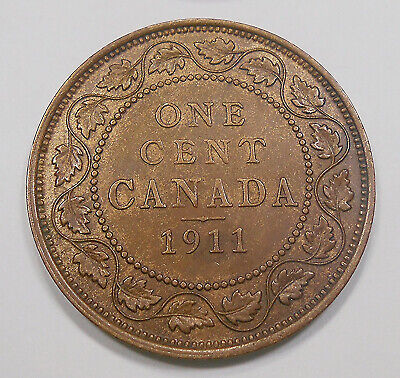 "1911 Large Cent EF BEAUTY 1st Year King George V KEY Only ""GODLESS"" Canada Penny"