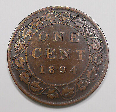 1894 Large Cent F * Nice SCARCE Date LOW Mintage KEY Queen Victoria Canada Penny