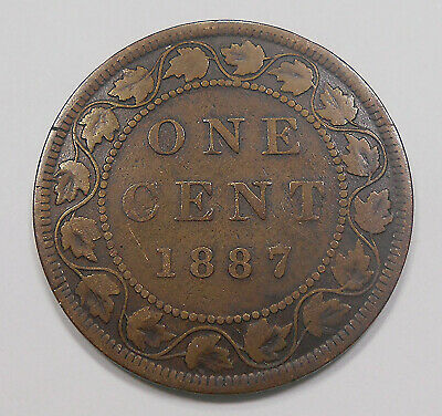 1887 Large Cent F ** Very Nice BETTER Date Early Queen Victoria Canada Penny