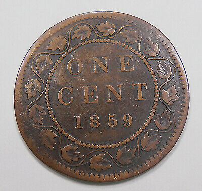 1859 NARROW 9 Large Cent F ** Nice 2nd Year Queen Victoria KEY Old Canada Penny
