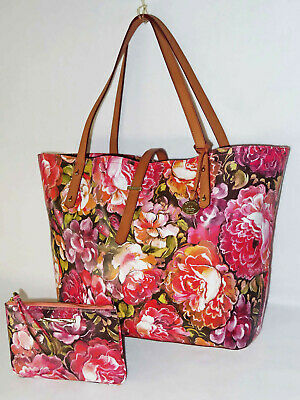 BRAHMIN Stunning PINK HEMINGWAY FLORAL BOLD FLOWERS XL ALL DAY TOTE & POUCH NWT
