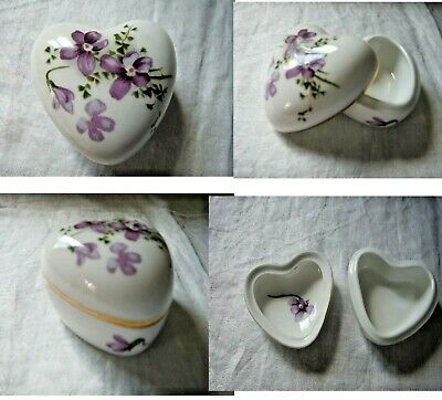 Hammersley Victorian Violets Lidded Heart-shape Trinket Box Fine Bone China -