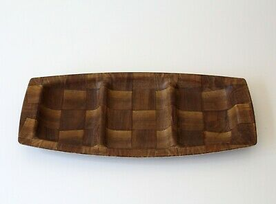 "vintage mid century WEAVEWOOD woven wood serving tray 6.5"" x 14"""