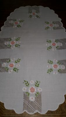 Oblong table centrepiece Hand embroidered daisy and cutwork with scallop edge