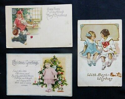 3 CHRISTMAS CHILDREN PCs   Vintage wear  #7005