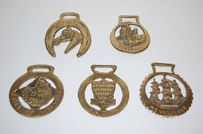 Vintage Horse Harness Brass Medallions Lot Of 5
