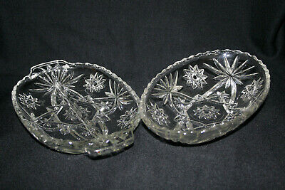 Vintage  Lead Crystal Glass Relish Divided Dish and Bowl Fancy