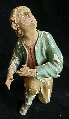 18th-19th cent Polychrome painted Wood Carved Figure, Man in Adoration of Christ