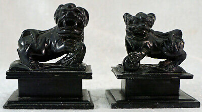 Pair Chinese Black Hard Stone Hand Carved Miniature Foo Dog Lion Figure Statue