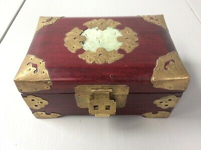 Vintage Cherry Wood And Brass Chinese Jewelry Box w/Blue Silk Lining