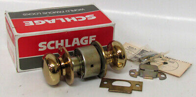 Vintage SCHLAGE A10S PLYMOUTH 605 Bright Brass Door Knob Passage Set Mid Century
