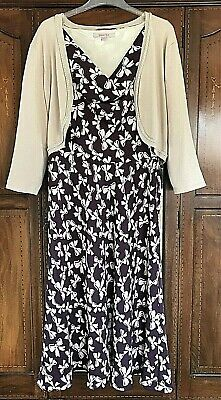 Jacques Vert Purple and Beige Dress and Soft Jacket UK20