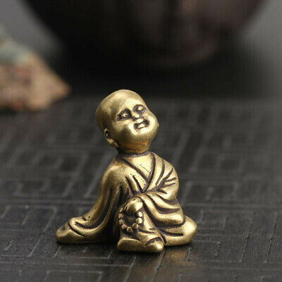 Chinese Collection Olds Asian Brass Small Young Buddhist Monk Exquisite Statue