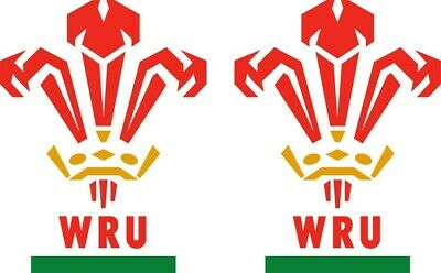Welsh Rugby Union Stickers, Wales national team pack of 2 @ 120mm high