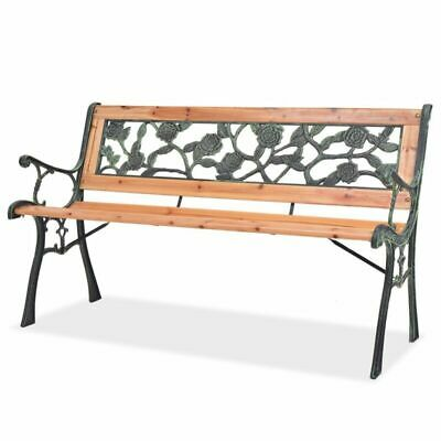 Garden Bench with Rose-patterned Backrest Cast Iron Wood Patio Outdoor