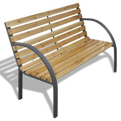 Garden Bench with Wood Slats Iron Frame Outdoor Seating Patio Furniture