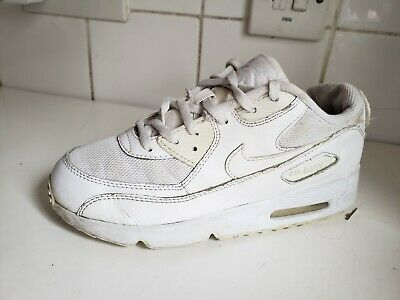 Nike Air Max 90 White Mesh Leather Trainers Kids Boys Girls Size Uk 2.5 Eu 35
