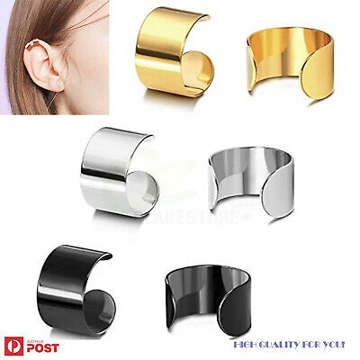 2x Ear Cuff Helix Cartilage Earrings Set Stainless Steel Clip Fake Non Piercing