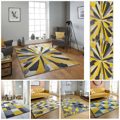 Modern Ochre Yellow Floral Designer Carved Extra Large Runner Rugs Carpet