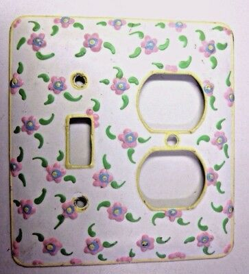 Funky 2 Gang Combo Switch Outlet Wall Plate Cover Hand Painted Floral